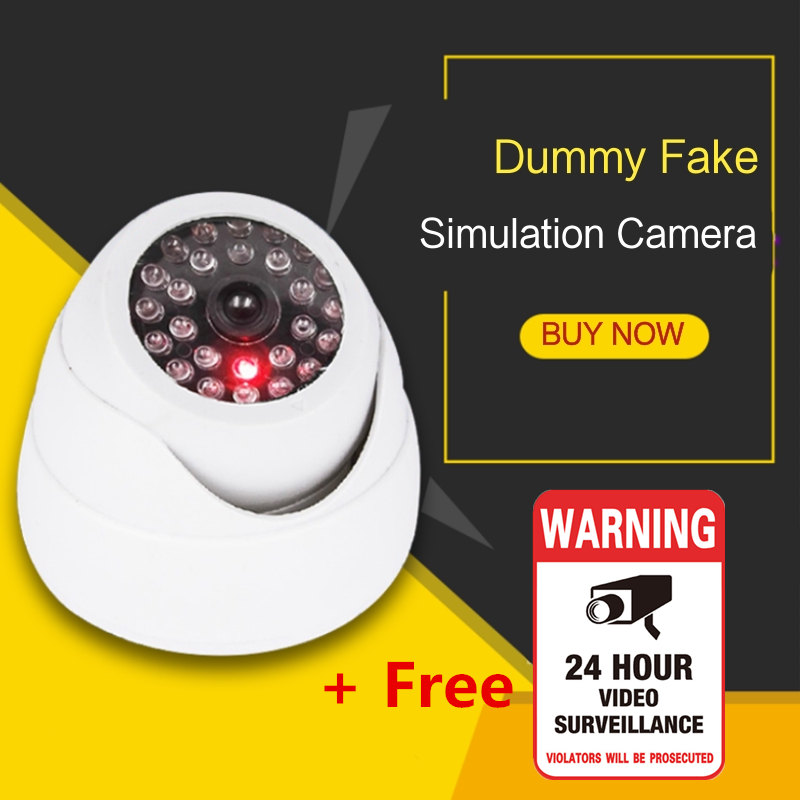 Security Dome Fake Camera Red Flashing LED Light Free Warning Sticker Indoor Outdoor Simulation Video Surveillance Safety Kamera