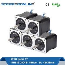 5 шт. шаговый двигатель Nema 17 Мотор 48 мм 59Ncm 2A 17HS19-2004S1 шаговый мотор 4-свинец с 1 м кабель для DIY ЧПУ 3D-принтеры