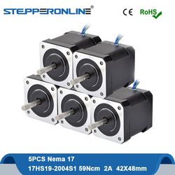 5PCS Stepper Motor Nema 17 Motor 48mm 59Ncm 2A 17HS19-2004S1 Stepping Motor 4-lead with 1m Cable for DIY CNC 3D Printer