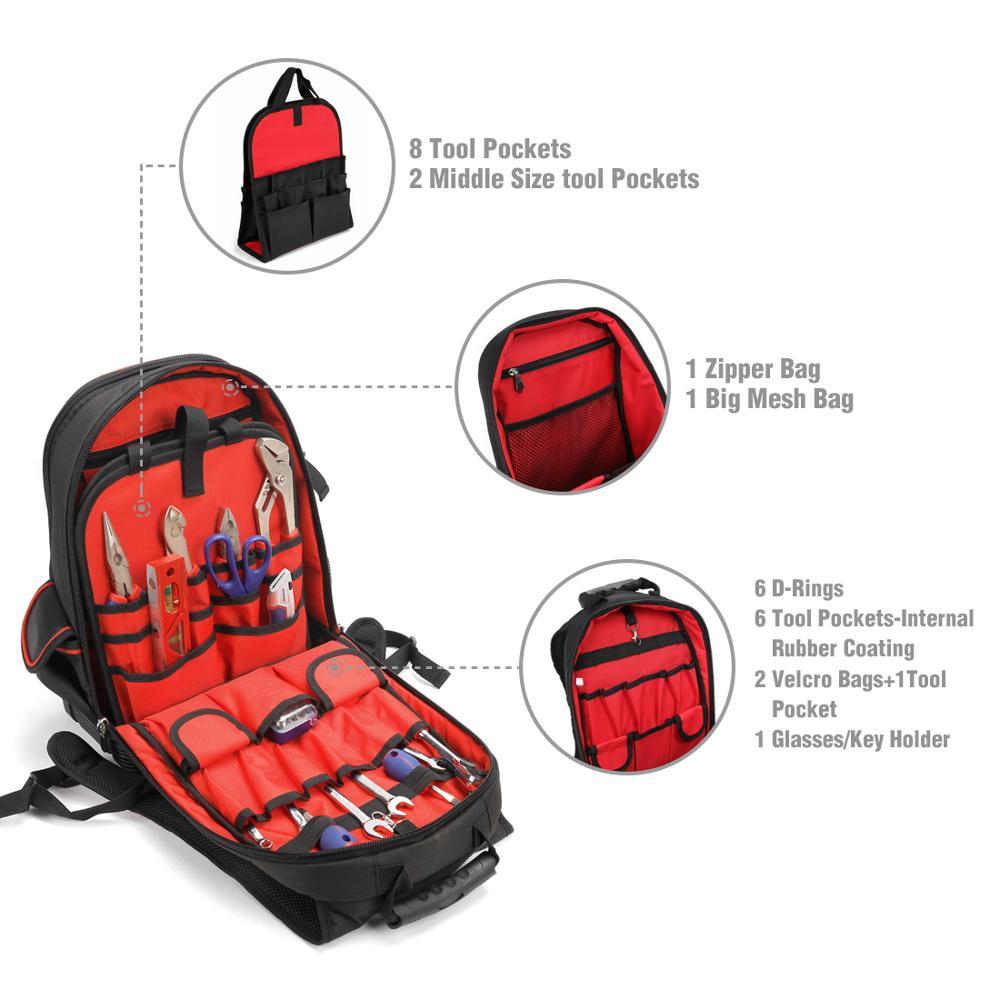 WORKPRO 2020 New Tool Bag Zaino da 17 '' Organizer impermeabile Borsa - Portautensili - Fotografia 4