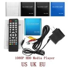LEORY 1080P Mini HDD reproductor multimedia HDMI AV Puerto USB Full HD con lector de tarjetas SD MMC, admite H.264 MKV AVI 1920*1080P 100Mpbs