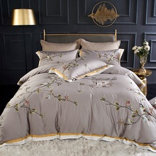 white and red embroidered egyptian cotton house de couette and pillow cases bedding set duvet cover Grey plant bird embroidered Egyptian cotton house de couette and pillow cases