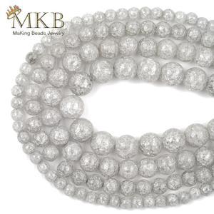 Круглые бусины с трещинами из натурального камня, круглые бусины с серым кристаллом в виде снега для изготовления ювелирных украшений, разд...