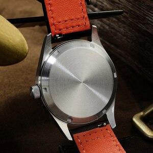 Image 5 - San Martin montre Simple en cuir pour hommes, cadran blanc, tendance 200m, étanche et lumineuse, automatique