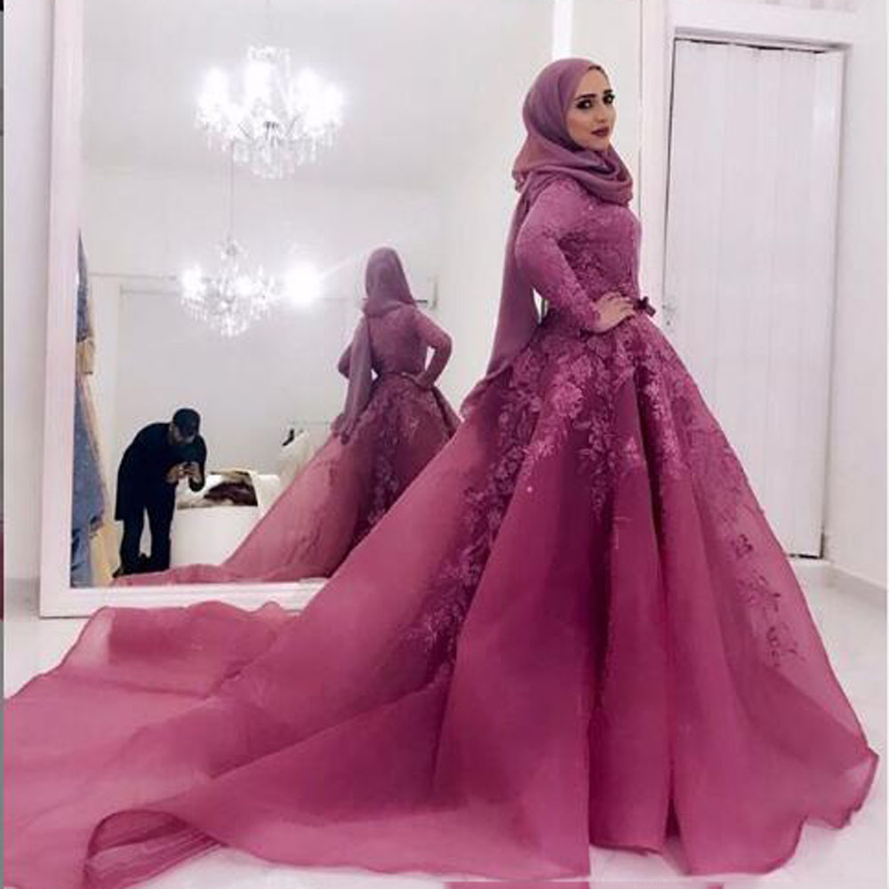 Elegant Muslim Lace Wedding Dresses 2019 High Collar Full Sleeves A-line Bridal Gowns Dusty Pink Wedding Dress Vestido De Noiva