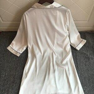 Image 3 - Sexy Night Dress Women Nightwear Lingerie Nightgowns Silk Sleepwear Satin Dress Cute Solid Pijama Three Quarter Sleeve Camison