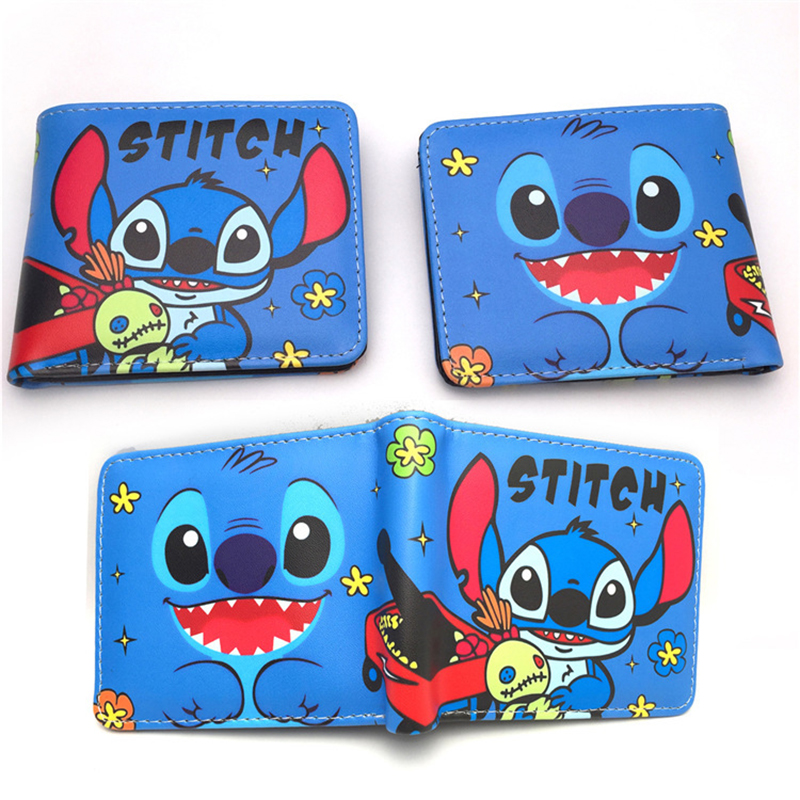 Stitch Purse Blue Cartoon Anime Lilo & Stitch NEW ARRIVLS Coin Purse Wallet girl bag Coin package Leather Zipper Kids Baby Gift image