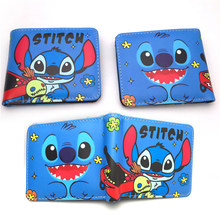 Stich Geldbörse Blau Cartoon Anime Lilo & Stich NEUE ARRIVLS Geldbörse Brieftasche mädchen tasche Münze paket Leder Zipper Kinder baby Geschenk(China)