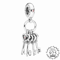 PANDULASO Original Silver 925 Keys of Love Dangle Charm Fit Pandora Bracelet Crystal Lovely Crystal Necklace Pendant DIY Jewelry