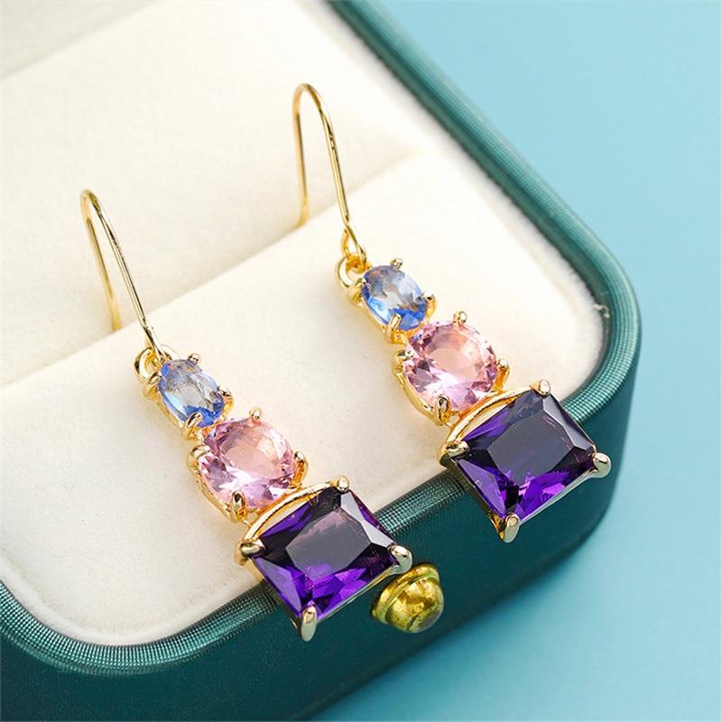 Geometric Round Pink Zircon Square Purple Drop Earrings For Women Vintage Fashion Yellow Gold Dangle Earrings Wedding Jewelry