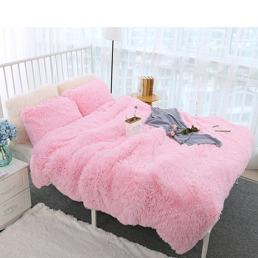 Bedding Double Layer Soft Blanket/Long Plush Blanket Soft Coverlet Sofa Cover Winter Warm Sheets Easy,Wash Faux Fur Blanket