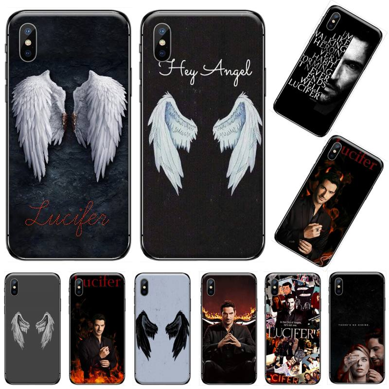 Lucifer wing usa Fantasy TV series TPU black Phone Case Cover Hull For iphone 5 5s 5c se 6 6s 7 8 plus x xs xr 11 pro max image