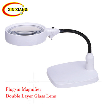 Plug-in Desktop Magnifier With Illumination Table Reading Magnifier 10X Magnifying Glass With Led Light Repair Flexible Loupe