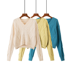 Crop Sweater Women Korean Fashion Kawaii Long Sleeve Short Sweater Autumn Solid Color Simple Loose Slim V Neck Sweaters Ladies цена