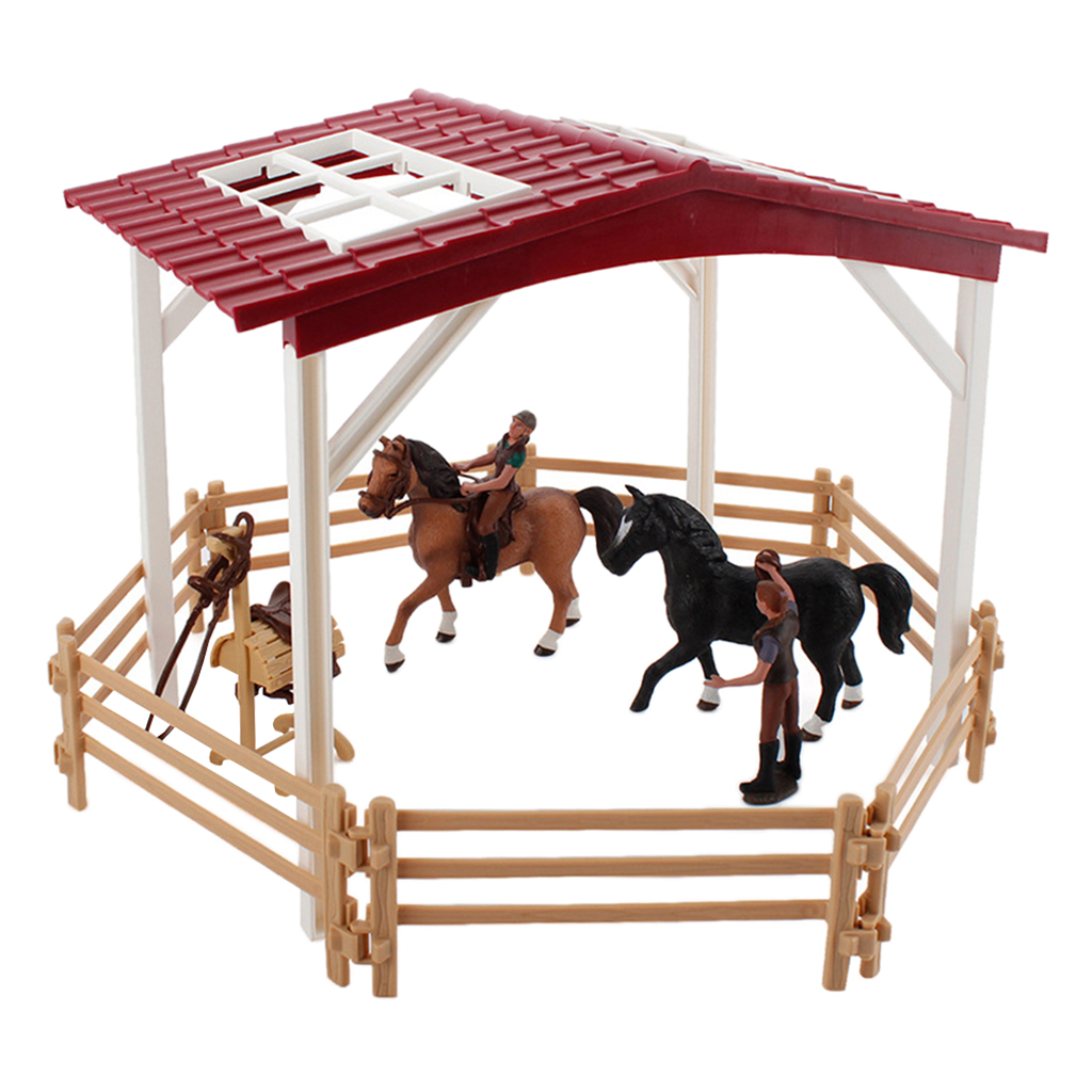 Farm Horse Scene Anction Figure Fence Statues Collection for Tabletop Decor