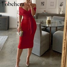 Glamaker Gebreide off shoulder rode midi jurk Vrouwelijke sexy bodycon backless party dress Winter vrouwen sash lange jurk elegante 2019(China)
