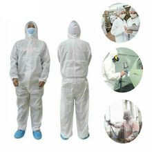 Hazmat Suit Anti-Virus Protection Clothing Isolation Safety Coverall Disposable Washable M-XXL