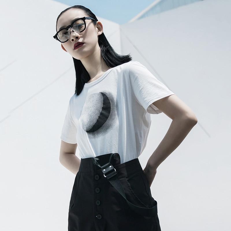 [EAM] Women White Pattern Printed Temperament T-shirt New Round Neck Short Sleeve  Fashion Tide  Spring Summer 2020 1W031 2