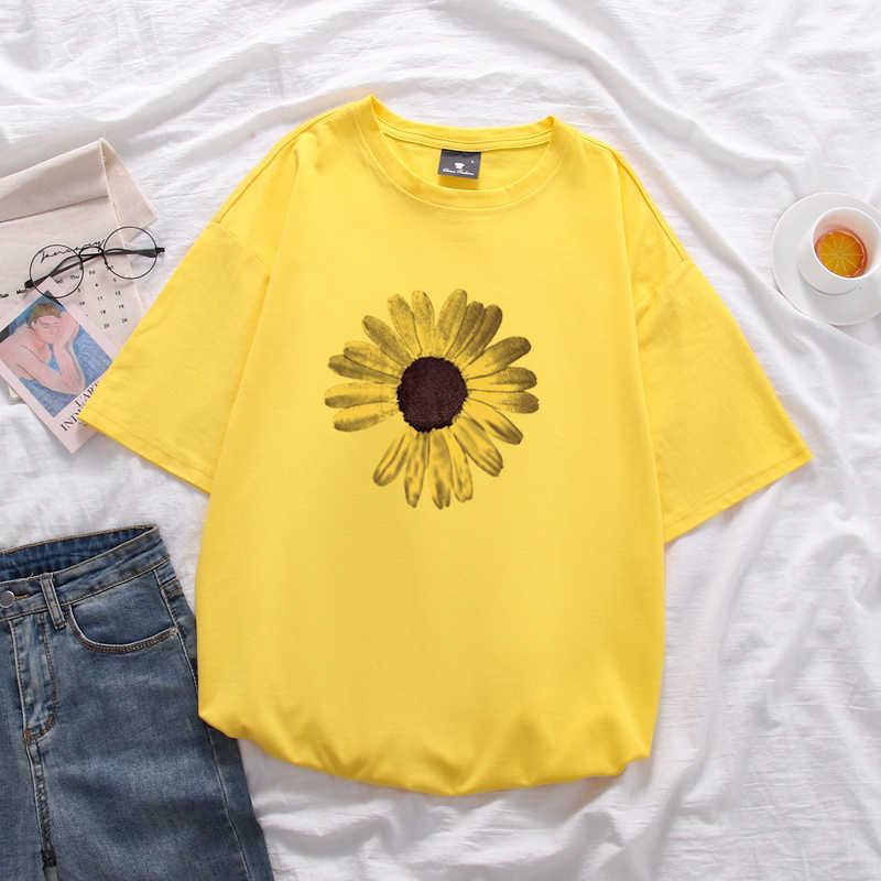 데이지 프린트 여성 코튼 대형 루즈 반소매 t 셔츠 유니섹스 중간 길이 탑 소프트 여름 t 셔츠