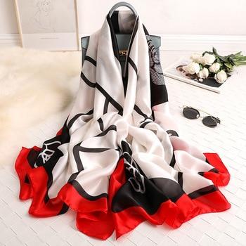 2020 luxury brand women scarf summer silk scarves shawls lady wraps soft pashimina female Echarpe Designer beach stole bandana - discount item  33% OFF Scarves & Wraps