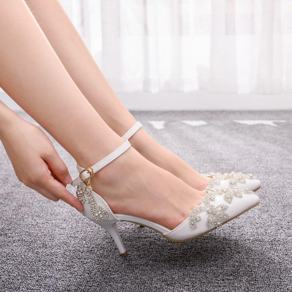 Crystal Queen Wedding Shoes Bride 7cm Heels Crystal White Pumps Christmas Day Evening Party Luxury Sandals Heel Plus Size 43