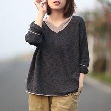 Johnature 여성 후드 풀오버 스웨터 7 색 긴 소매 2020 가을 새로운 패치 워크 컬러 니트 코튼 여성 한국어 스웨터