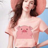 Pink O-neck Short Sleeve Harajuku Women Tshirt Kawaii Aesthetic Pattern Printing Tops Femmes Clothes Korean Style Cute Tshirt