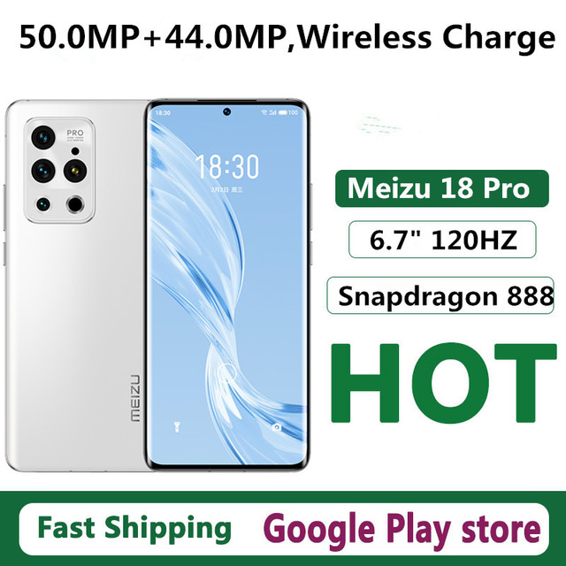 """New Meizu 18 Pro 5G Cell Phone Dual Sim Fingerprint 6.7"""" 120HZ Snapdragon 888 Face ID 50.0MP Android 10.0 OTA 40W Charge OTG GPS 1"""