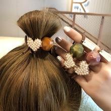 Женская резинка для волос, Корейская эластичная резинка с кристаллами и жемчугом, модные аксессуары для волос, резинки для волос, новинка 2020
