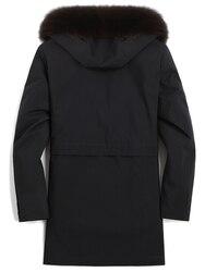 Parka Real Fur Coat Men Natural Mink Fur Liner Winter Mens Mink Coat Hooded Fox Fur Collar Long Parkas 9817173 KJ3105