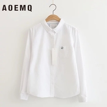 AOEMQ Casual Shirts Simple Style White/Blue Solid Blouse Women Tops Turn-down Collar Office Lady Shirts Women Clothing