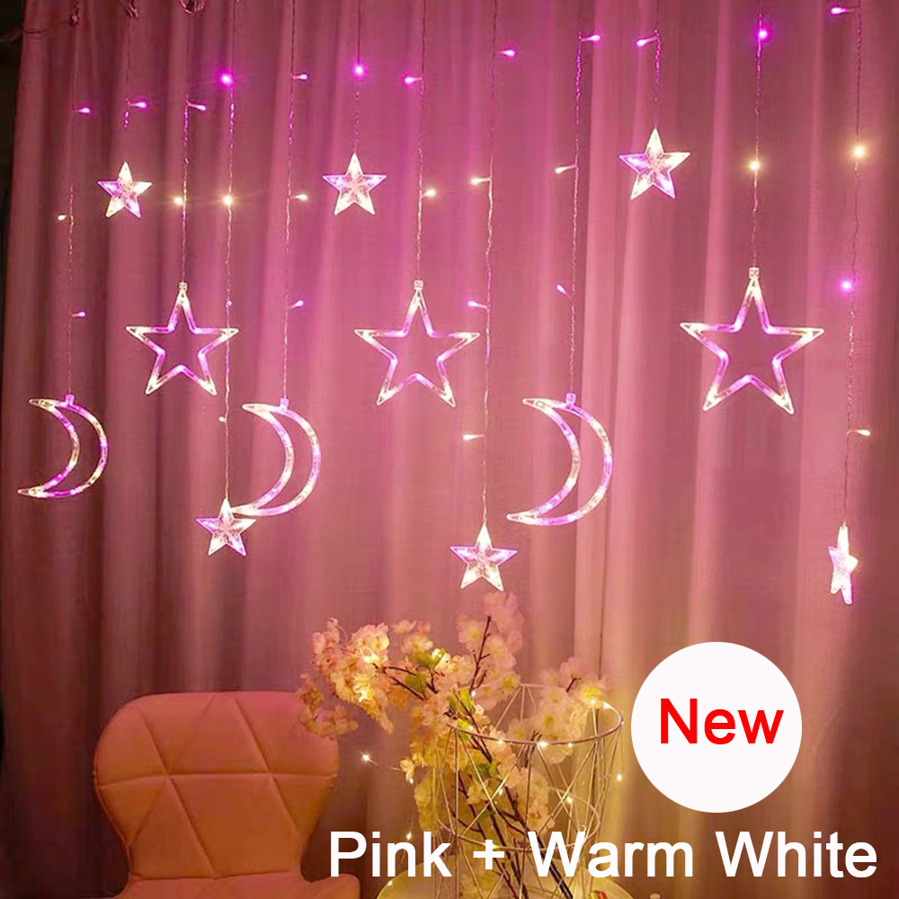2020 New LED Icicle Curtain String Fairy Lights Christmas Moon Star Garland Outdoor Indoor for Wedding Party Home New Year Decor