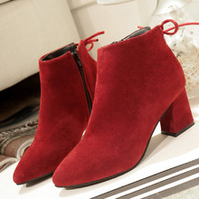 Ankle Boots Flock Leather Top Quality Zipper Autumn Winter Fashion Lady Suede Boots Shoes botas High Heel chunky Boots mujer все цены