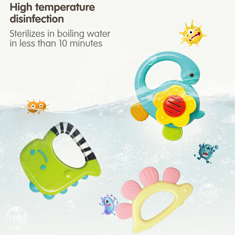 GILOBABY Baby Dinosaur Rattle Teether Shaker Roll Rattle Newborn Early Educational Toys for 3 6 9 12 18 Month Baby Infant Toddler