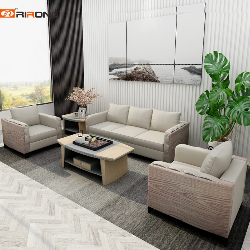 Loft Design Elegant Modern Leather Office Manager Seating Big Sofa Fashion Grey Office Sofa Wood Coffee Table Set