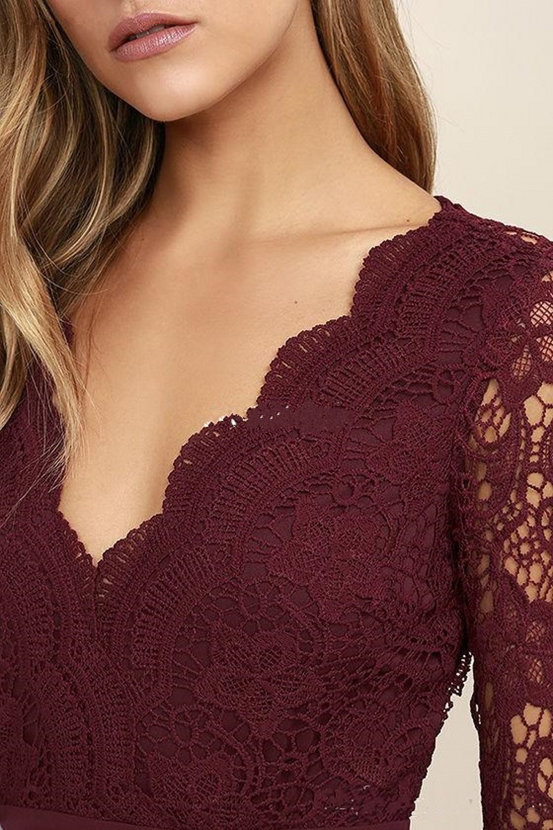 Burgundy Lace Bridesmaid Dresses 2020 Sexy Open Back V-Neck A-Line Long Wedding Party Gowns Chiffon Maid of Honor Dresses