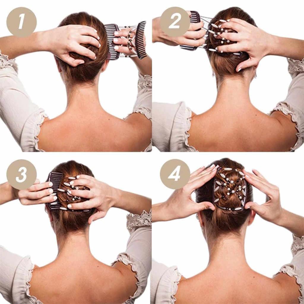 Patchwork Warna Bead Elastis Wanita Serbaguna Elastis Rambut Sisir Klip Sihir Logam Sisir Klip Haar Aksesoris Rambut Band untuk Anak Perempuan