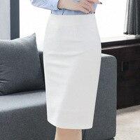 OL Style Bodycon Formal Pencil Skirt Solid Black Grey White Blue Green High Waist Skirts Work Wear Stretch Package Hip Split