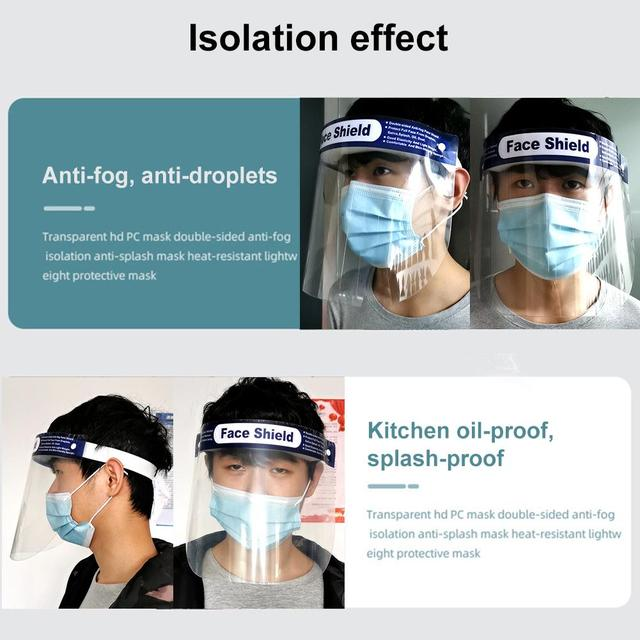 10PCS Face Shield Protection Full Face Protect Anti Saliva PVC Anti Foam Covering Dust-proof Safety Shield Tool Clear Face Mask 2