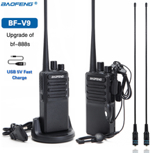 2個baofeng BF V9 usb 5v高速充電双方向ラジオ5ワットポータブルトランシーバーuhf 400 470 3 30mhzアマチュア無線BF 888Sのアップグレード