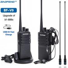 Bộ 2 Bộ Đàm Baofeng BF V9 USB 5V Sạc Nhanh 2 Chiều Đài Phát Thanh 5W Di Động Bộ Đàm UHF 400 470MHz Hàm Đài Phát Thanh Bản Nâng Cấp Của BF 888S