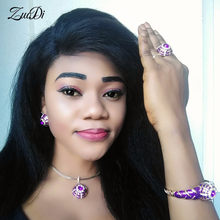 ZuoDi Dubai Gold Colorful Jewelry Set Nigerian Wedding woman Jewelry Set Wholesale Saudi Bracelet Earring Ring Jewelry Set(China)