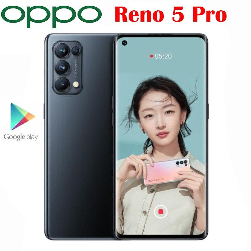 공식 새로운 오리지널 OPPO 리노 5 프로 5G 휴대 전화 안드로이드 11 치수 1000 + 옥타 코어 6.55 인치 OLED 64MP 카메라 65W 4350Mah
