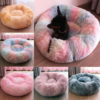 Pet Dog Bed Warm Fleece Round Dog Kennel House Long Plush Winter Pets Dog Beds For Medium Large Dogs Cats Soft Sofa Cushion Mats image