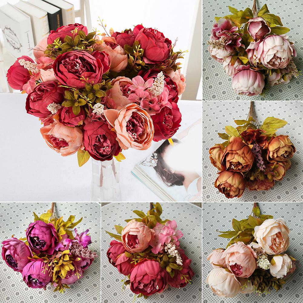 1 Bouquet 13 Heads Artificial Peony Silk Flower Wedding Party Home Decoration