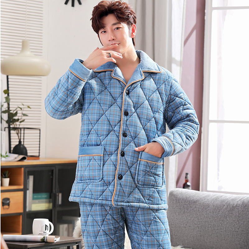 New Arrival Sky Blue Plaid Quilted Pajamas Soft Men Sleepwear Winter Lounge Set Three Layer Coral Fleece Thick Quilted Jacket