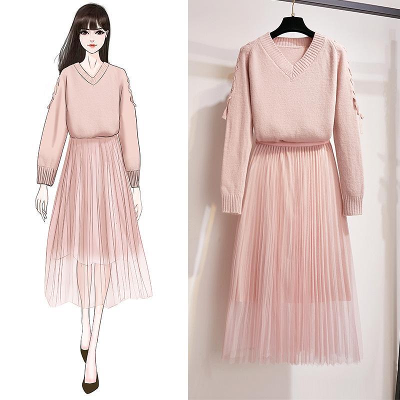 ICHOIX élégant maille 2 pièces jupe ensemble coréen rose bleu pull à lacets hiver tenues mignon fille deux pièces ensemble femmes 2pcs vêtements