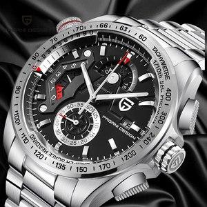 46mm pagani conception cadran noir montre à quartz bracelet en acier inoxydable montre de sport de loisirs pour hommes