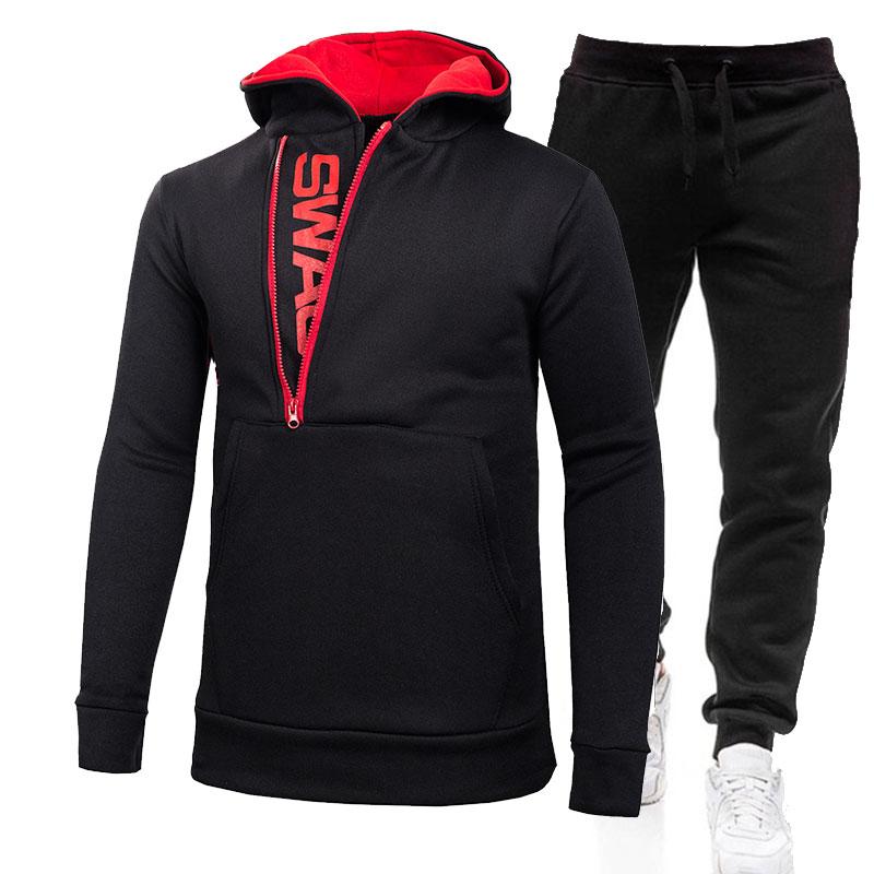 Mens Hoodie Winter Warm Fleece Sweater Jacket Outwear Coat Top Pants Sets