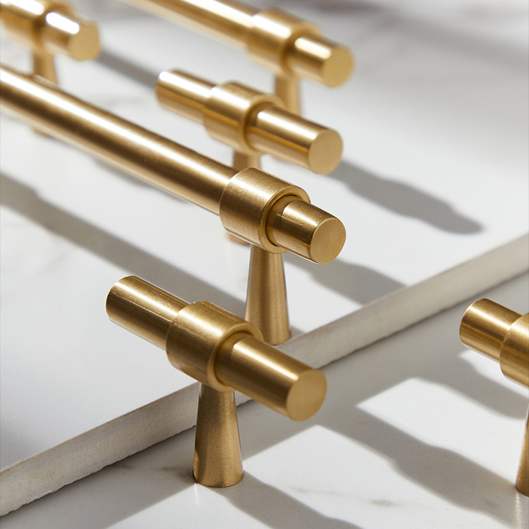 Solid Brass Furniture Handles T bar Light Luxury Fashion Gold Wardrobe Dresser Cupboard Cabinet Drawer Pulls|Cabinet Pulls| |  - title=